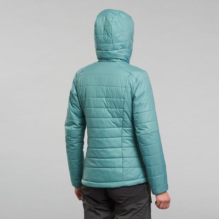 Gewatteerde jas met capuchon voor bergtrekking dames Trek 100 turquoise