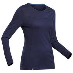 T-shirt lana merinos montagna donna TREK 500 WOOL maniche lunghe blu