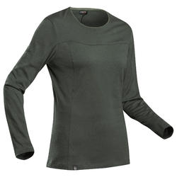 Merino Shirt Trek 500 langarm Damen khaki