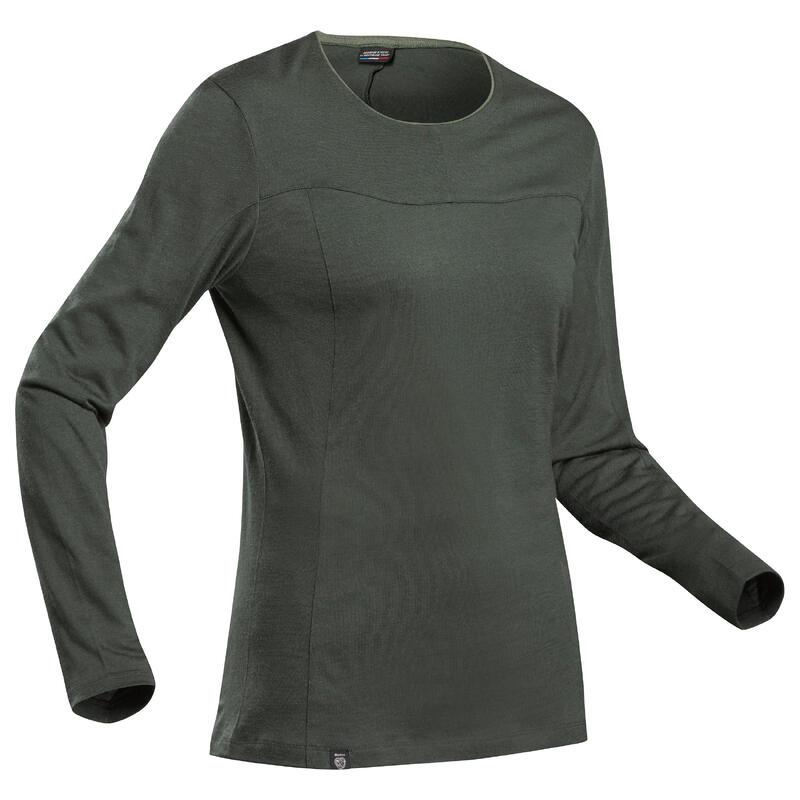 T-shirt manches longues de trek montagne - TREK 500 MERINOS kaki - femme