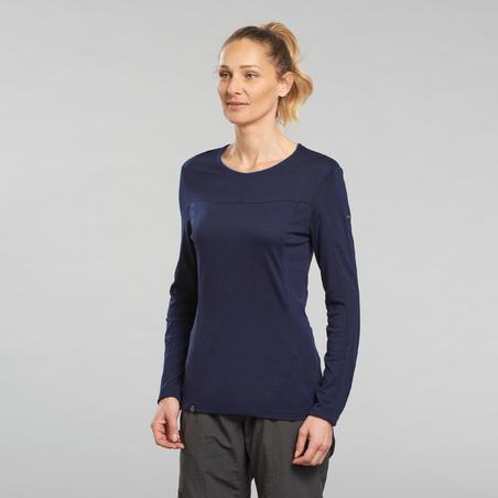 """Moteriški merino vilnos kalnų žygių marškinėliai apvaliu kaklu """"Trek 500"""",mėlyni"""