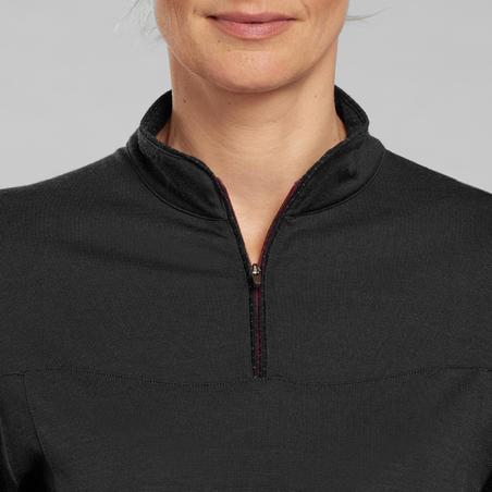 Trek 500 Mountain Trekking Merino Wool T-Shirt and Zippered Collar - Women