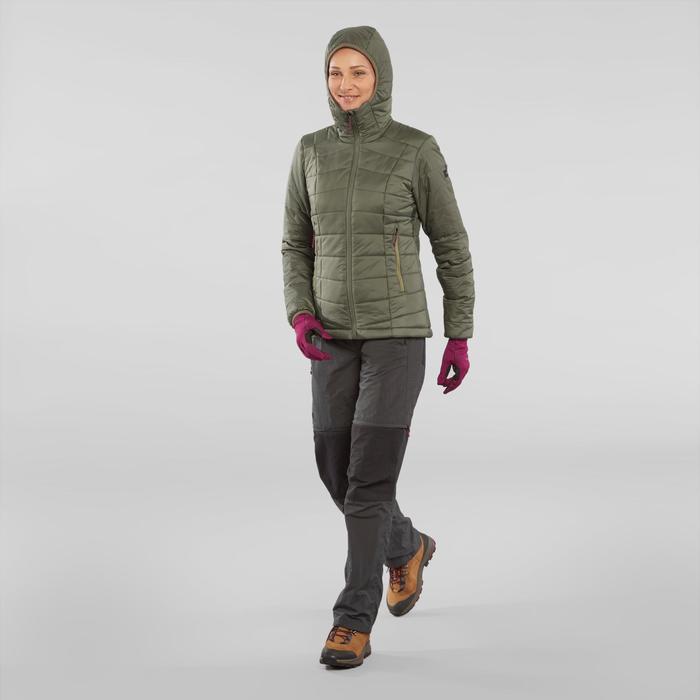 Doudoune de trek en montagne - TREK 100 capuche kaki - femme