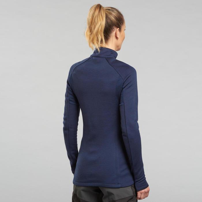 T-shirt laine mérinos et col zippé de trek montagne - Trek 900 bleu - femme