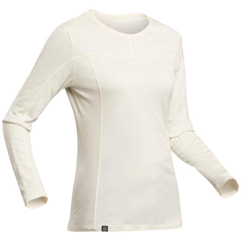T-shirt laine mérinos sans teinture de trek montagne - TREK 500 greige - femme