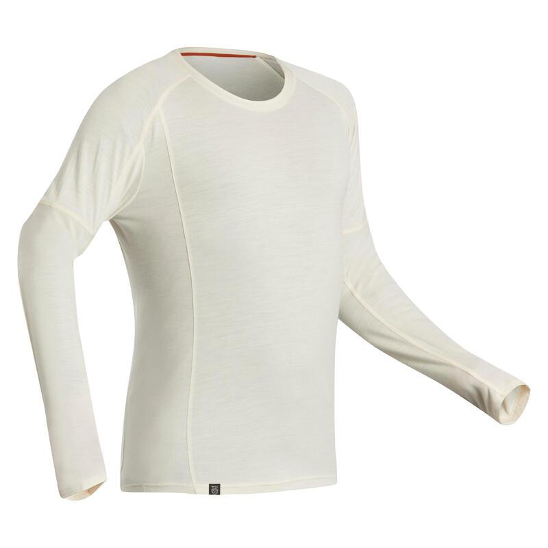 T-shirt manches longues de trek montagne - TREK 500 MERINOS greige - homme