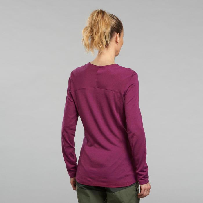 Shirt van merinowol met kraag voor bergtrekking Dames Trek 500 paars
