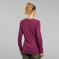 T-shirt manches longues de trek montagne - TREK 500 MERINOS violet - femme