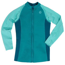 Kid's Long Sleeve Neoprene Thermal Top 500 Turquoise