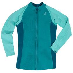 兒童款氯丁橡膠(neoprene)保暖長袖上衣500-淺碧藍色
