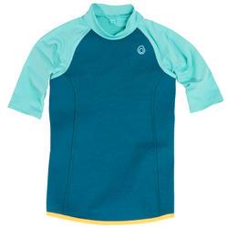 Thermische top in neopreen met korte mouwen 100voor kinderen turquoise