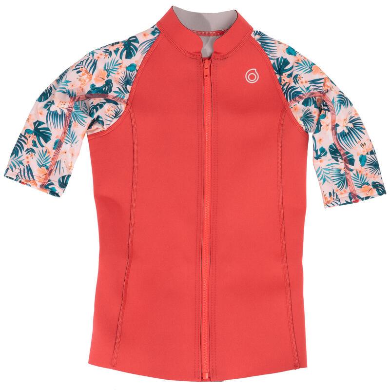 Kids' Short-Sleeve Neoprene Top 500 - Pink