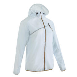 Women's windproof trail running jacket Blue Grey