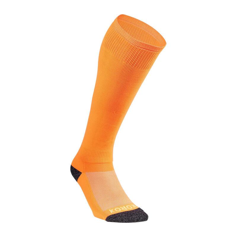 Chaussettes de hockey sur gazon enfant FH500 orange fluo