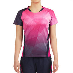 T-Shirt de badminton Femme 560 - Rose/Marine
