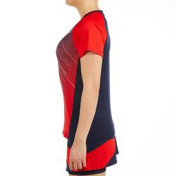 T-Shirt de badminton Femme 560 - Blanc/Marine/Rouge