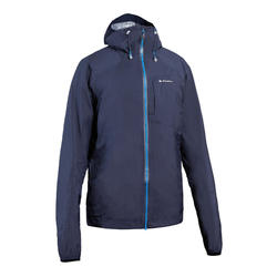Men's Waterproof Fast Hiking Jacket FH500 Helium Rain - Blue Black