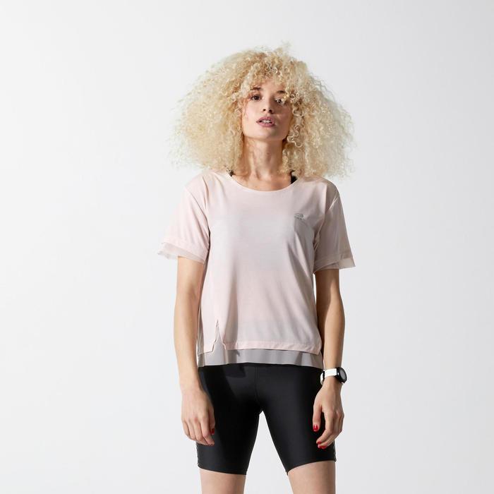 女款慢跑T恤RUN FEEL - 淡粉色