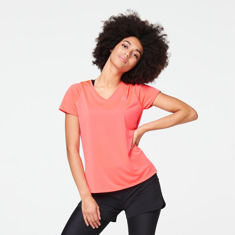 Hardloop-T-shirt voor dames Run Dry fluoroze/koraal
