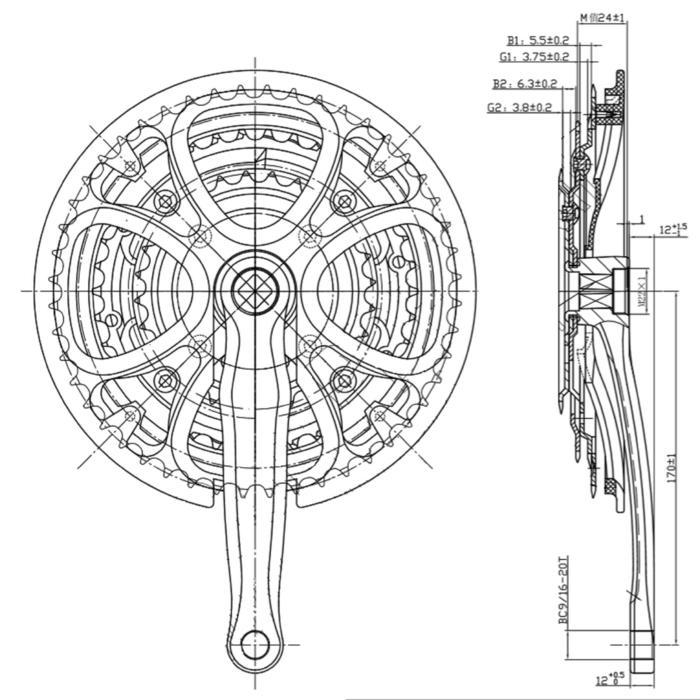 Triple crankstel 8 versnellingen 48/38/28 170 mm vierkante as grijs