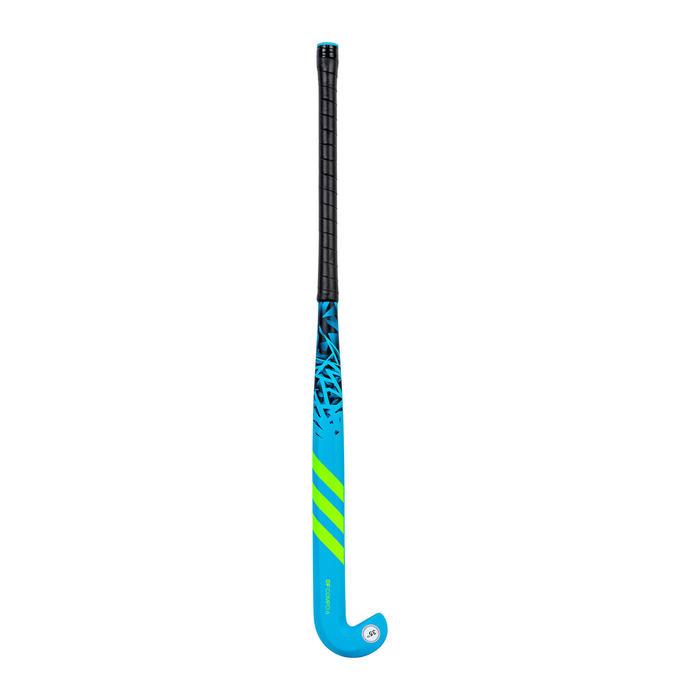 Hockeystick voor tieners glasvezel extra low bow DF24 Compo 6 blauw/groen