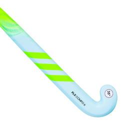 Hockeystick voor tieners glasvezel mid bow FLX24 Compo 6 lichtblauw/groen