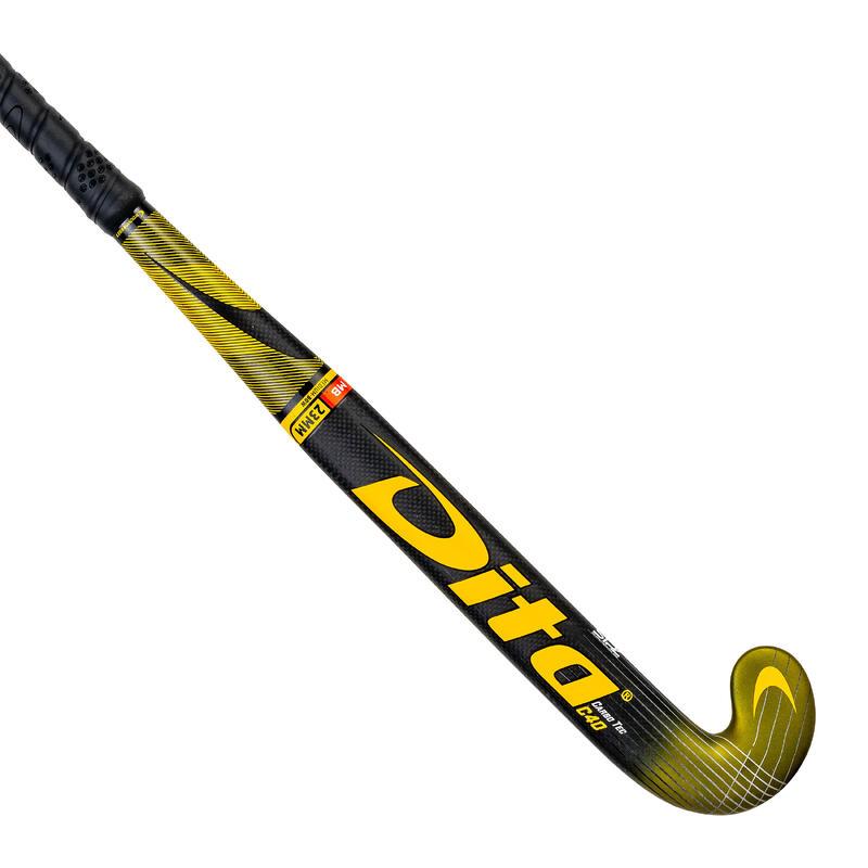 Stick de hockey ado expert 40% carbone low bow Carbotec Pro C40 doré noir