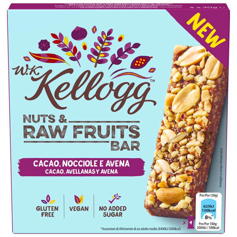 BARRETTE, GEL E RECUPERO Alimentazione - Barretta nuts&raw cacao noccio KELLOG'S - Alimentazione