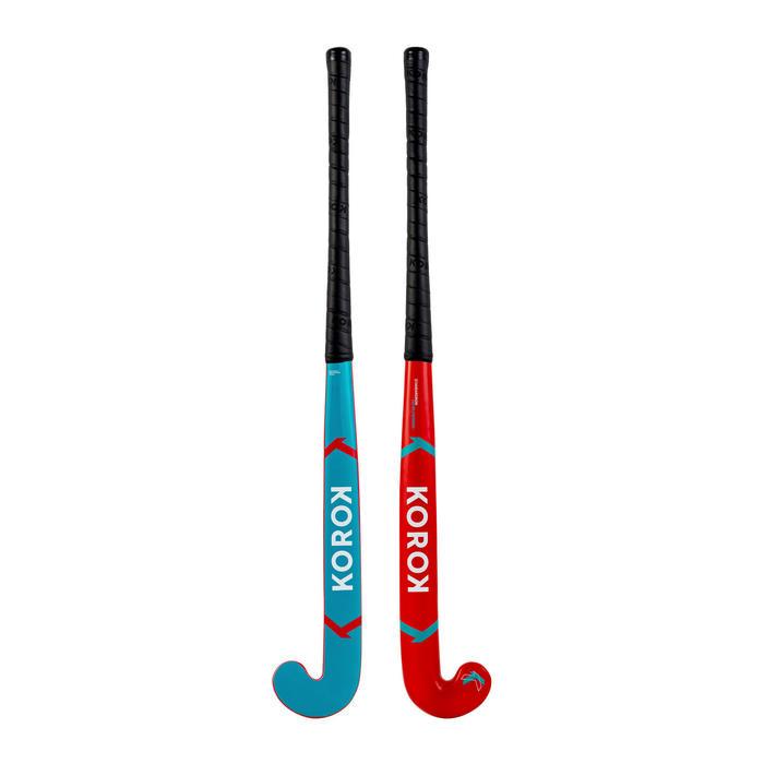 Stick de hockey enfant débutant/adulte occasionnel bois/FB FH100 jaune et bleu