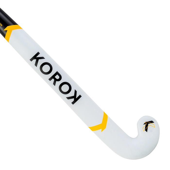 Hockeystick voor gevorderde volwassenen low bow 60% carbon FH550 wit/geel