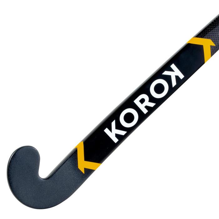 Hockeystick voor tieners 20% carbon low bow FH920 zwart/geel