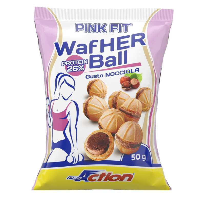 BARRETTE, GEL E RECUPERO Alimentazione - PINK FIT WAFHER BALL NOCCIOLA PROACTION - Alimentazione