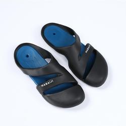 男款泳池拖鞋100-黑藍色