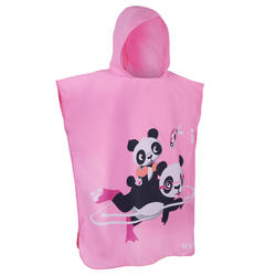Kid's Microfibre Poncho with hood pink panda print