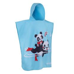 Kid's Microfibre Poncho with hood blue panda print
