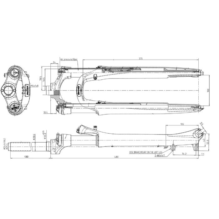 """Verende voorvork voor hybridefiets 1""""1/8 Suntour SF17-NCX D DS 700C"""