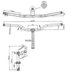 """cintre potence plongeur 1""""1/8 diamètre 22,2mm longueur 620mm"""