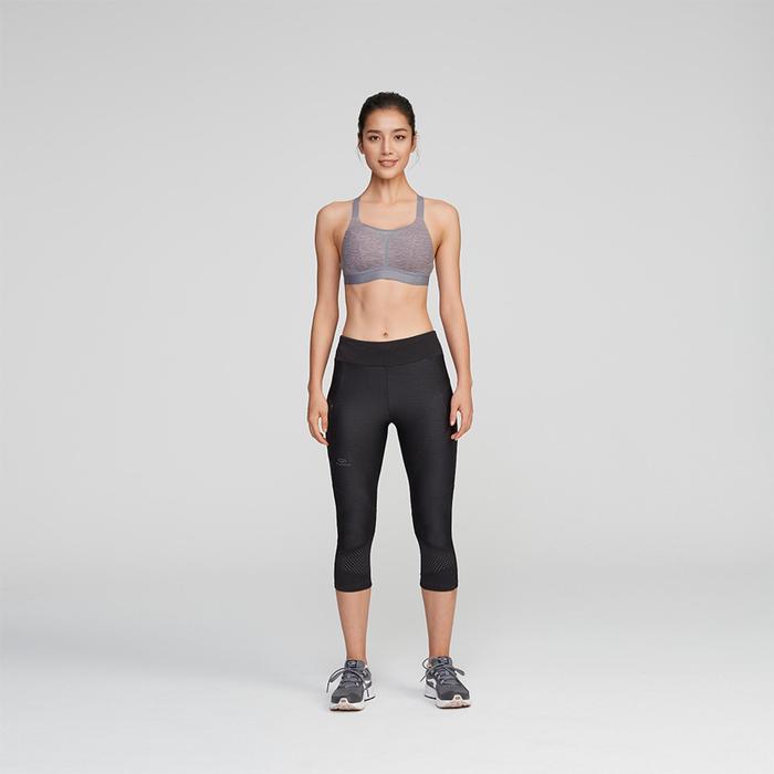跑步運動內衣COMFORT - 雜灰色/粉色