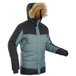 男款輕量超保暖雪地健行連帽外套SH500-卡其色
