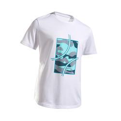 T-shirt tennis bambino 100 bianco mimetico