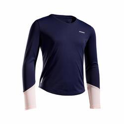 女孩款發熱T恤500 - 海軍藍配粉紅色