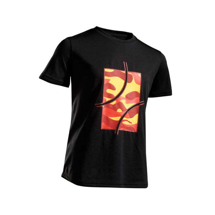 Tennis T-shirt voor kinderen TTS100 camo/zwart