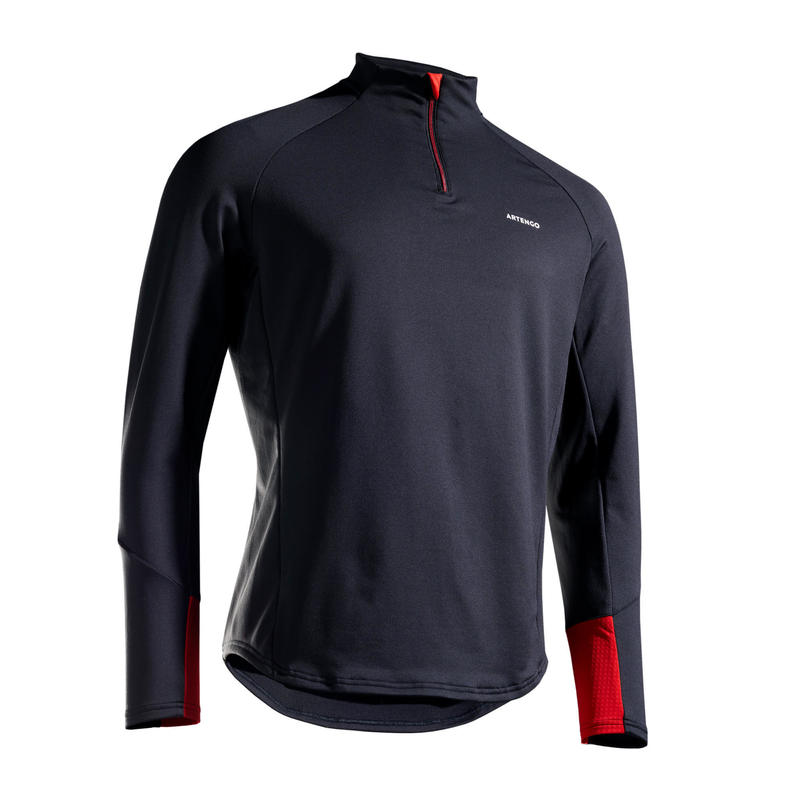 TEE SHIRT MANCHES LONGUES DE TENNIS TSW TH 1/2 ZIP NOIR ROUGE