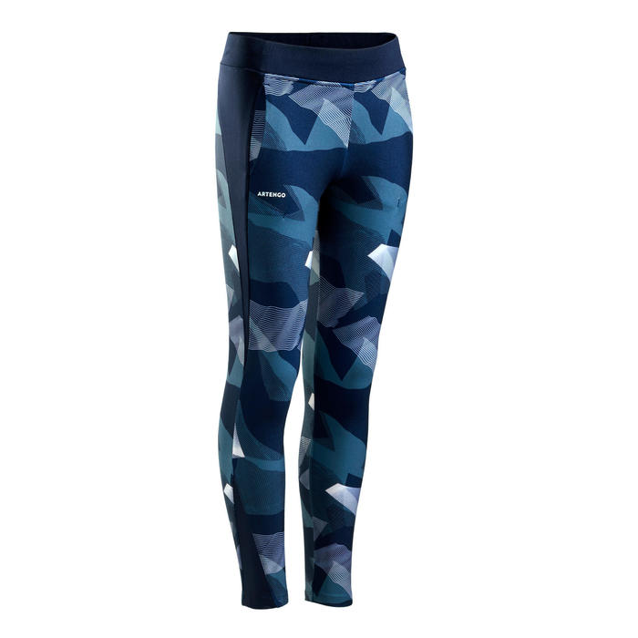 Girl's Thermal Leggings 500 - Blue/Pink