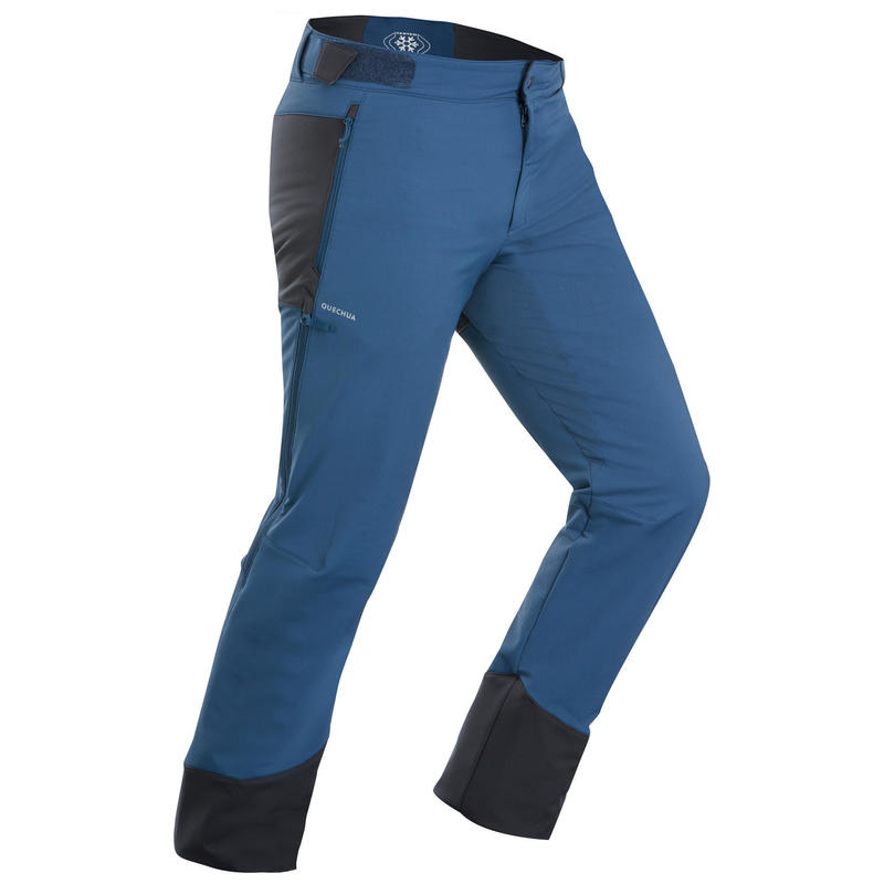 Men's Warm Water-repellent Stretch Hiking Trousers with Gaiters - SH520 X-WARM