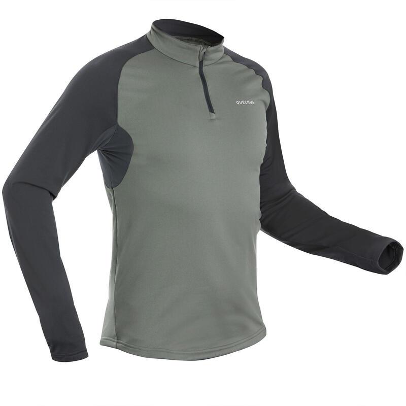 Pánské turistické tričko s dlouhým rukávem SH100 Warm khaki