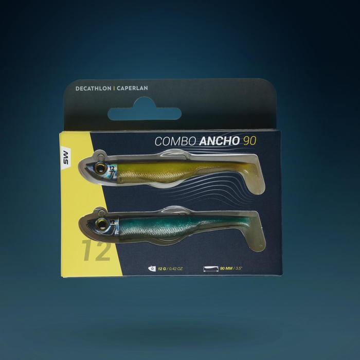 COMBO leurres shad texan anchois ANCHO 90 12gr Ayu/Bleu pêche en mer
