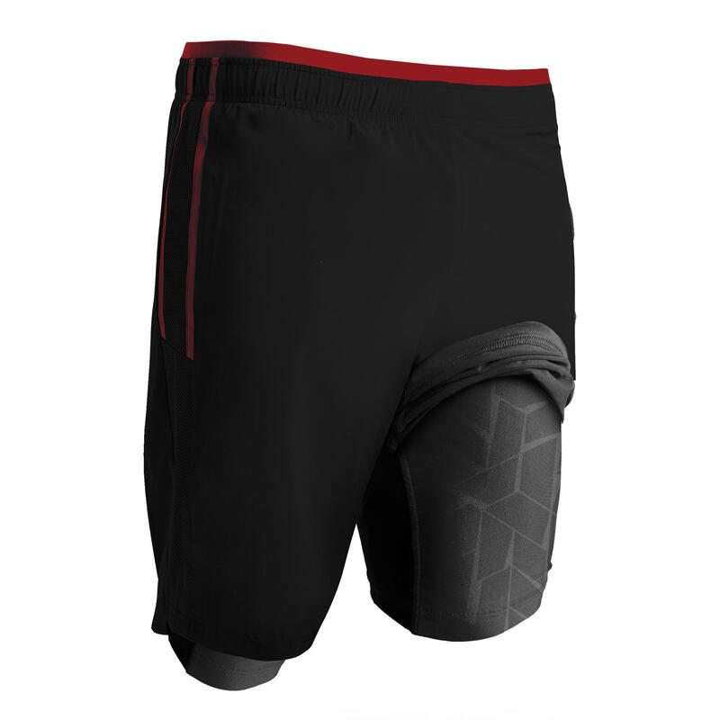 Adult 3-in-1 Football Shorts Traxium - Black/Red