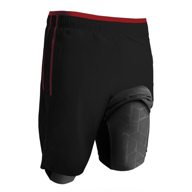 Pantaloncini calcio 3 in 1 TRAXIUM nero-rosso