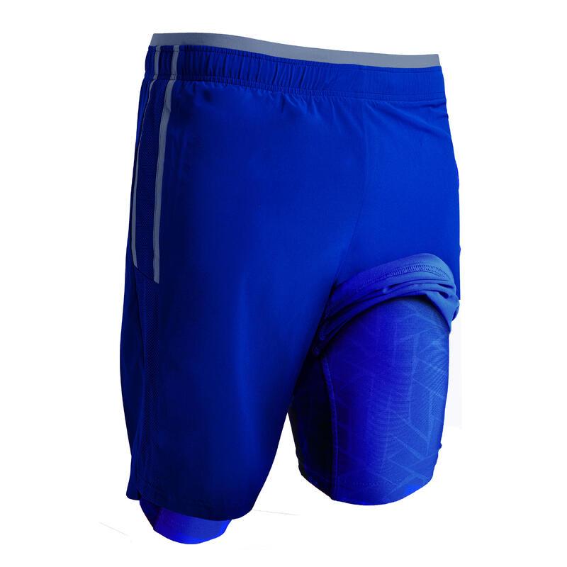 Pantalón Corto de Fútbol Kipsta F540 3 en 1 adulto azul